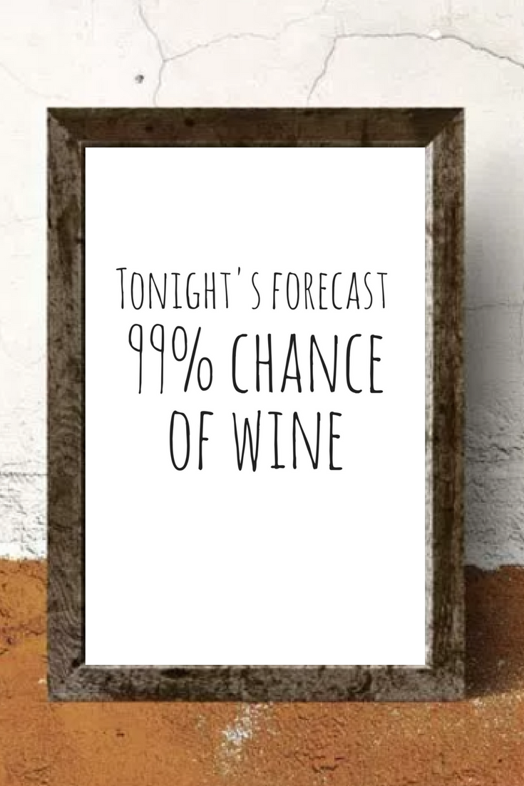 Tonight S Forecast 99 Chance Of Wine Printable Wine Quote Wall Print Funny Prints Wine Humor Print Wine Quotes Funny Wine Quotes Wine Humor