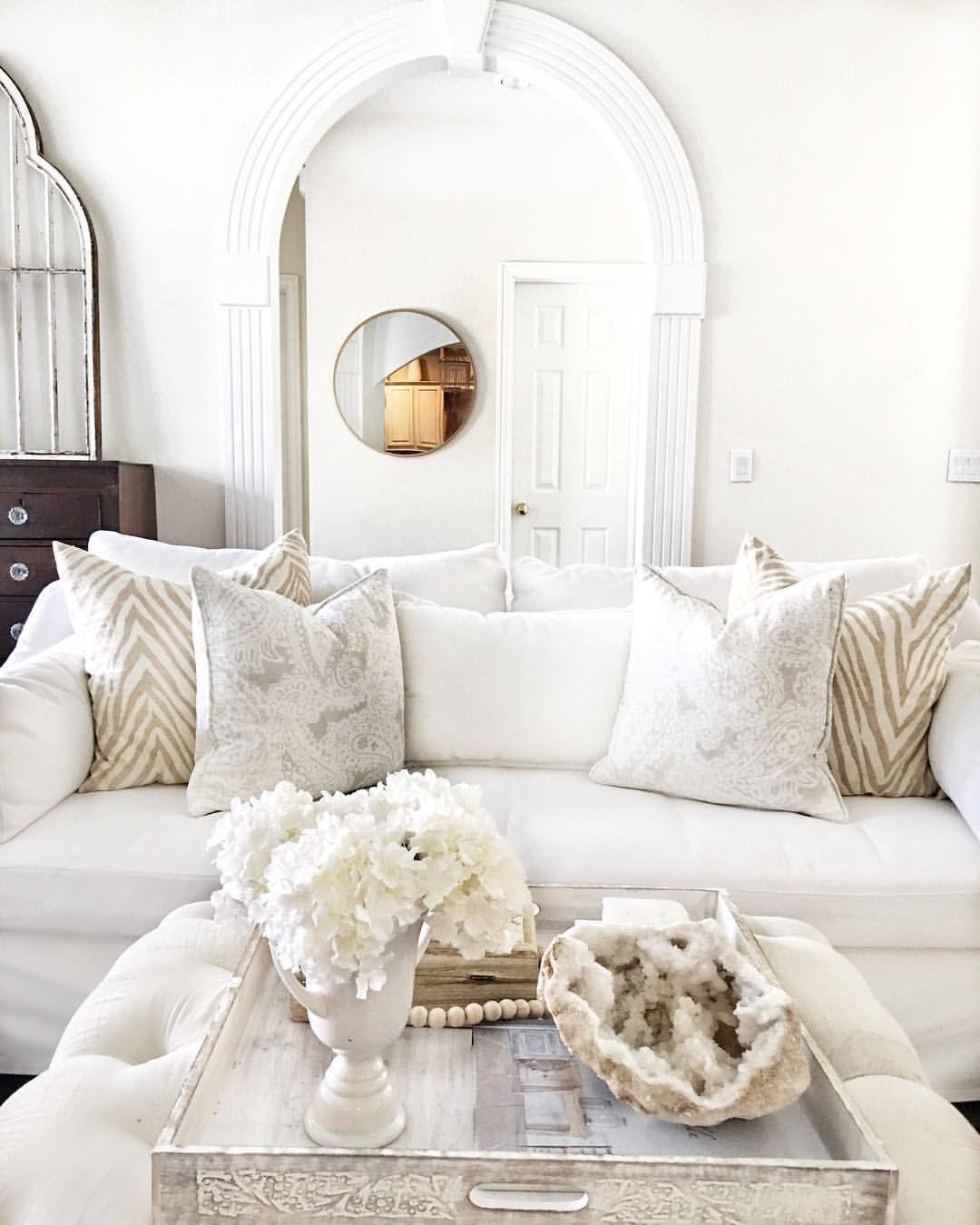 My Neutral Living Room White Furniture White Living Room Table Styling Coffee Table Styling Mixing Patterns Wh Living Room Designs White Living Room Home