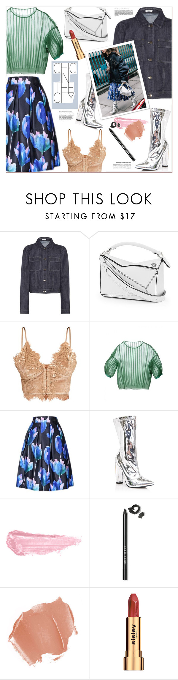 """Chic in the City"" by watereverysunday ❤ liked on Polyvore featuring Tomas Maier, Loewe, Shoe Republic LA, By Terry, Bobbi Brown Cosmetics, Sisley, chic, denimjacket, pleatedskirt and whitebag"