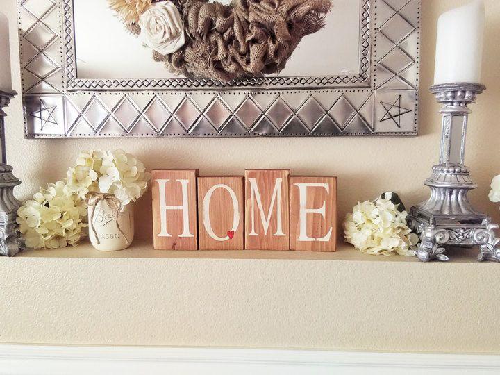 Etsy Home Sign Wood Blocks Distressed Decor Rustic Shelf Sitter Ad