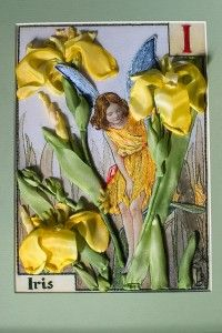 Iris fairy from Cicely Mary Barker's Flower Fairies, embroidered by Marina Zherdeva