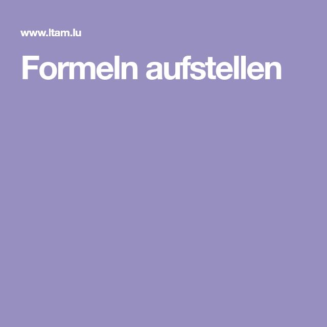 Formeln aufstellen   Aufsteller, Bildung, Schule