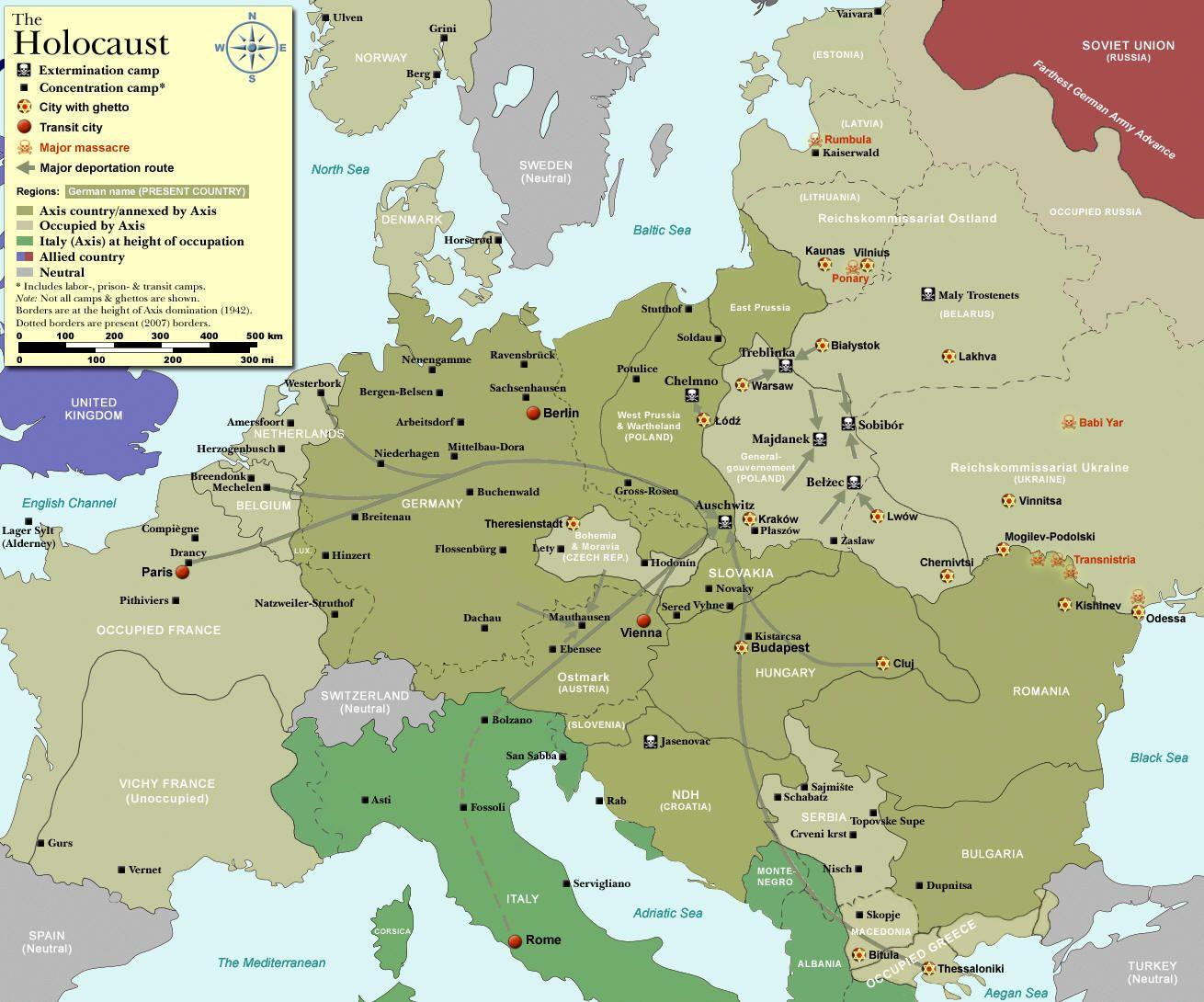 Mapa de los campos de concentración y exterminio ...