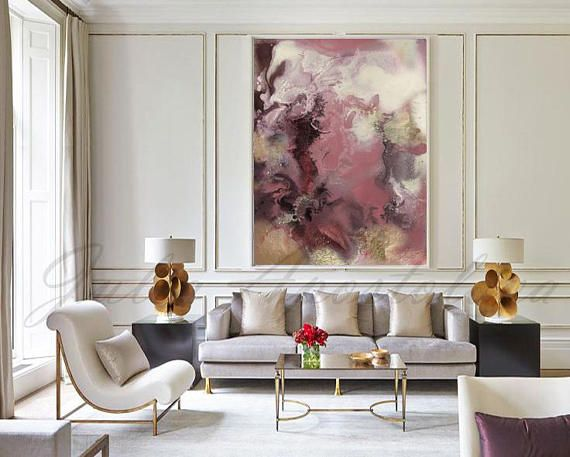 Large Watercolor Painting, Abstract Landscape, Huge Wall Art, Pink and Gold, Beige and Pink, Modern Art, ''Romance'' by Julia Apostolova