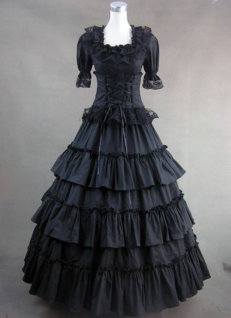 Classic Black Gothic Victorian Dress Cheap Gothic Victorian