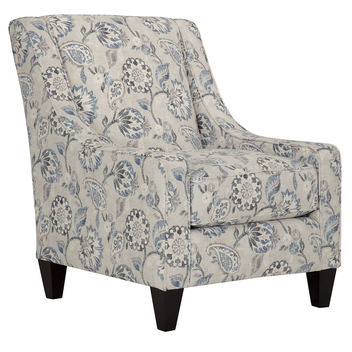Attirant Sylvie Blue Floral Accent Chair
