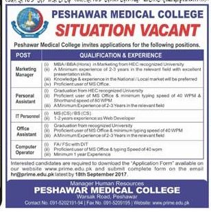 Peshawar Medical College Jobs  For Marketing Manager Personal