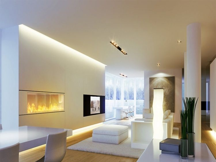 Eclairage led salon spots led plafond cheminée lampe
