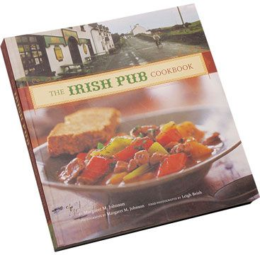 "Irish Pub Cookbook.    Over 70 recipes offering culinary history, folklore, blackboard specials from renowned pubs (there are over 1000 in Dublin alone), and full-color photos. Photographed in Ireland. 9"" x 8 ¼"" x ¾"" Soft cover. 224 pages. $24.95"
