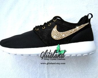 Swarovski Nike Girls Preschool Black Print / Gold Roshe Run Blinged with  Gold SWAROVSKI® Crystals