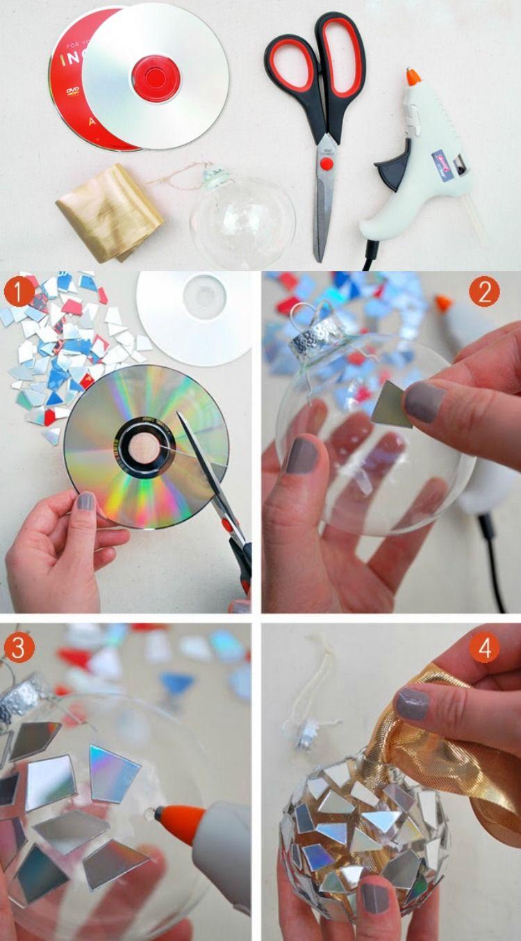 diskokugel selber machen weihnachtskugel dekorieren bastelideen pinterest alte cds. Black Bedroom Furniture Sets. Home Design Ideas