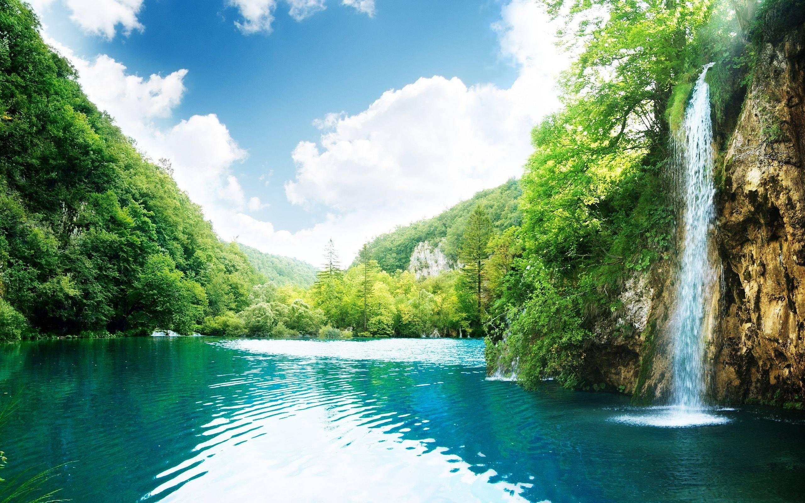 Tropical Waterfall High Definition Wallpaper High Quality Wallpapers 2560x1600 Px 777 33 Kb Air Terjun Pemandangan Air