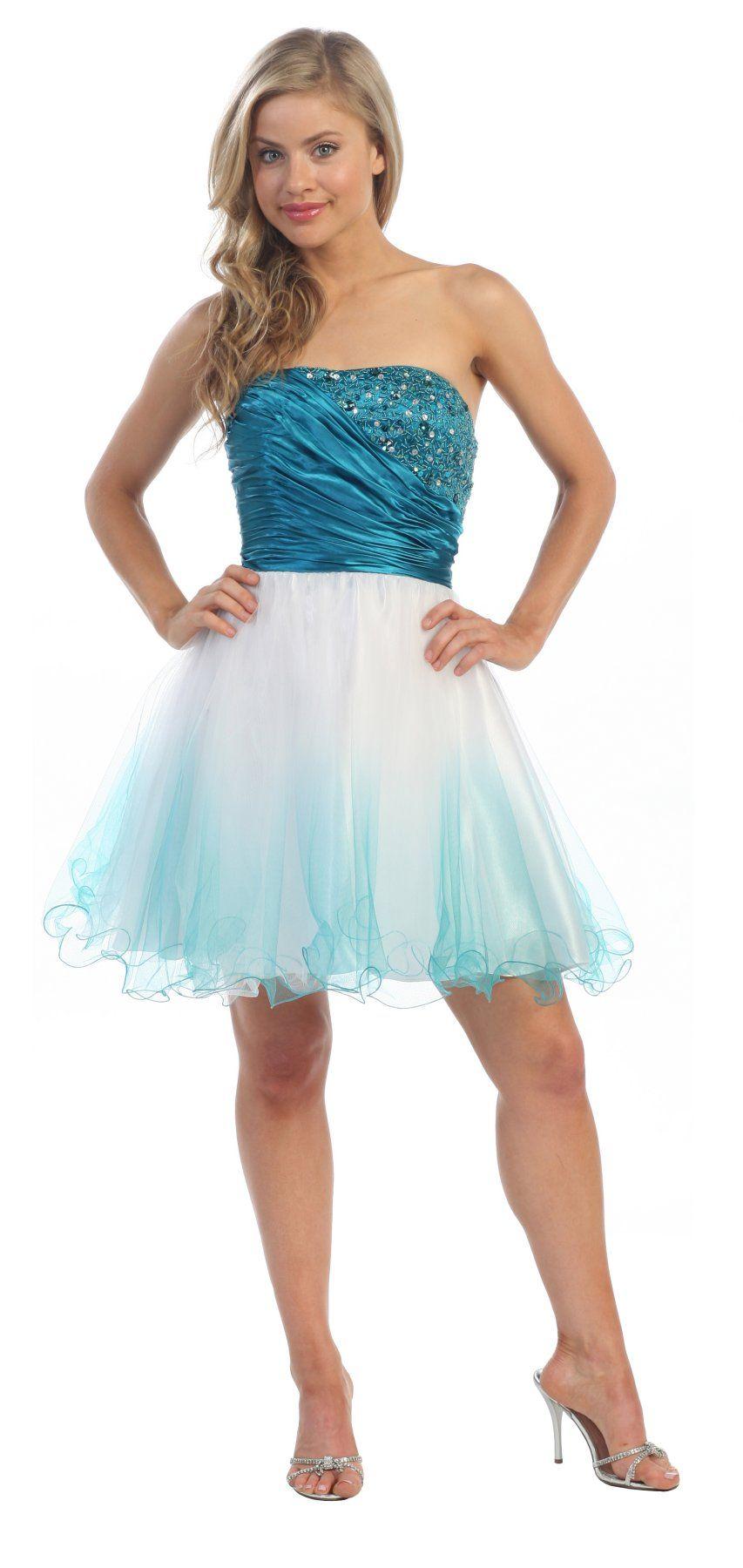 Short Ombre Teal Tulle Dress Strapless Poofy Skirt Beading Satin