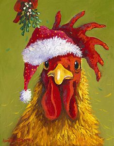 Chicken Painting Santa Rooster By Annetta Gregory Rooster Painting Christmas Watercolor Chicken Painting
