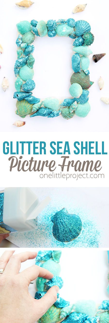 Make a BEAUTIFUL glitter sea shell frame this summer. It's such an easy summer kids craft!
