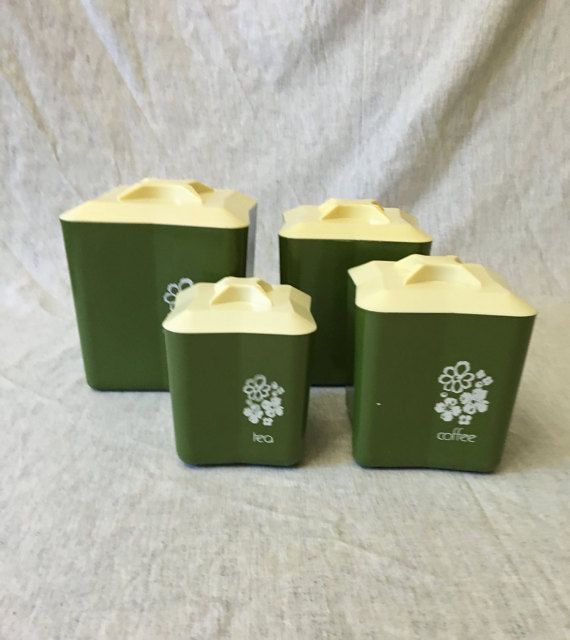 Vintage Avocado Green Plastic Canister Set, Retro Green Kitchen Canisters,  Set Of 4, Nesting Kitchen Containers