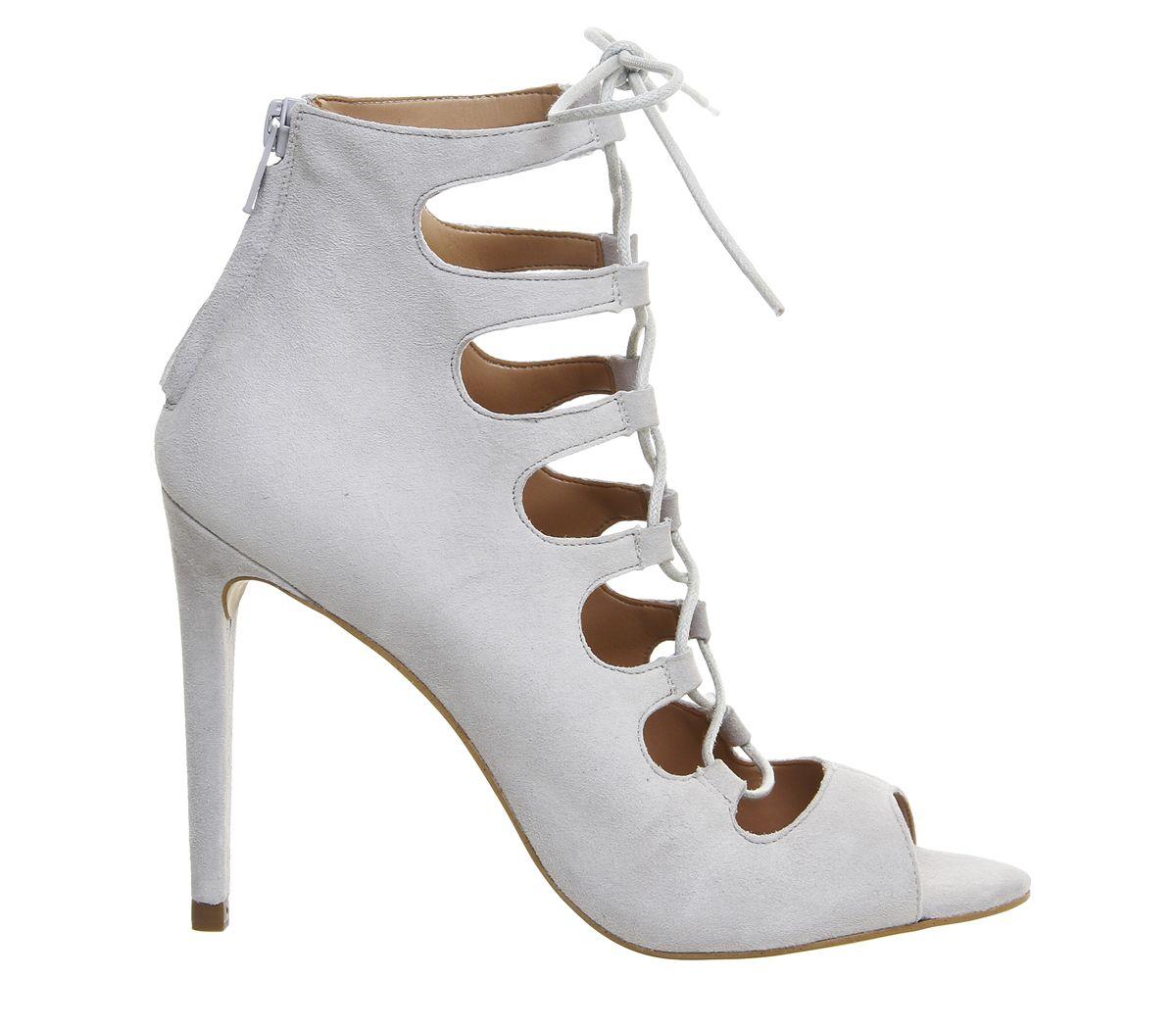 270ef8cc077b Office Parisian Lace Up Ghillie Sandal Grey Kid Suede - High Heels ...