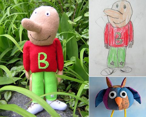 This is AWESOME!  Why hang your child's artwork on the fridge when you can bring it to real life? Child's Own Studio will take your child's drawings and faithfully recreate them as a custom plush doll or toy.