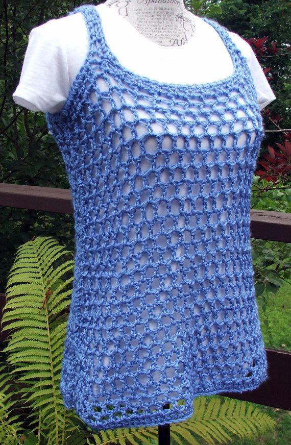 Crochet Tank Top. Summer Cover. Beach Cover. Swimsuit by BeadGs, $20.00