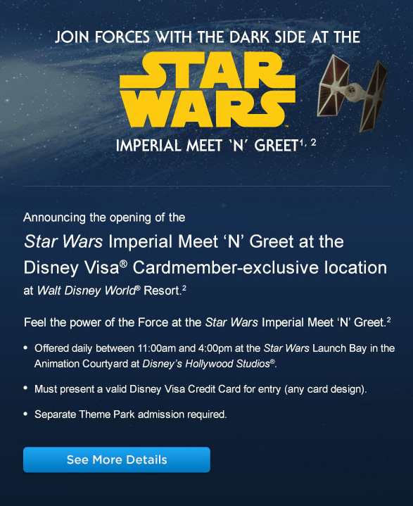 Star wars imperial meet n greet in hollywood studios for disney star wars imperial meet n greet in hollywood studios for disney visa card members m4hsunfo Choice Image