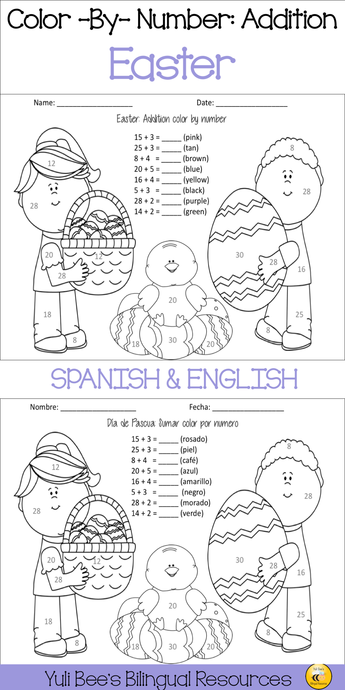 Easter Color By Number Addition Spanish Amp English