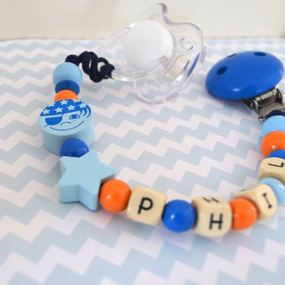 Pacifier clip pirat personalized name pacifier by orangeandcoco, $21.00