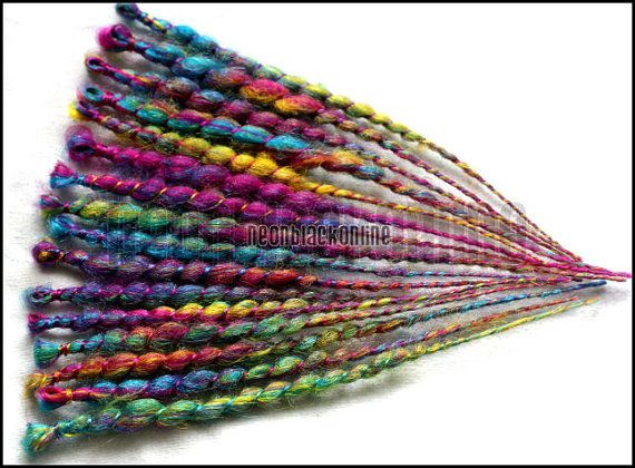 Single ended dread extensions - pink yellow turquoise rainbow dreads - set of 10