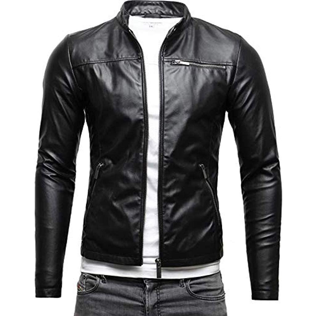 Crone Vego Herren Eco Lederjacke Cleane Leichte Basic Jacke