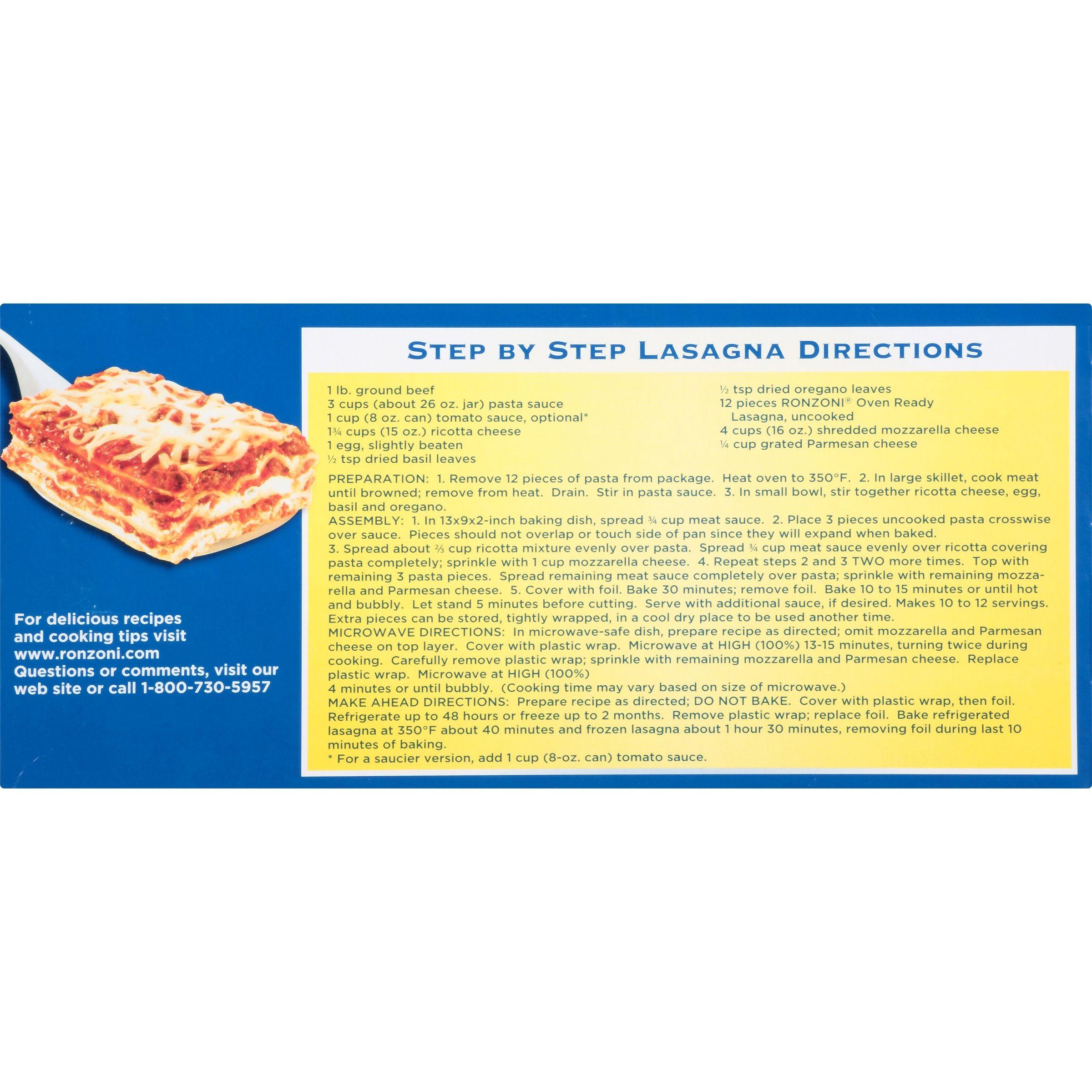 Ronzoni Oven Ready Lasagna Pasta 8 Oz Box Com Lasagna