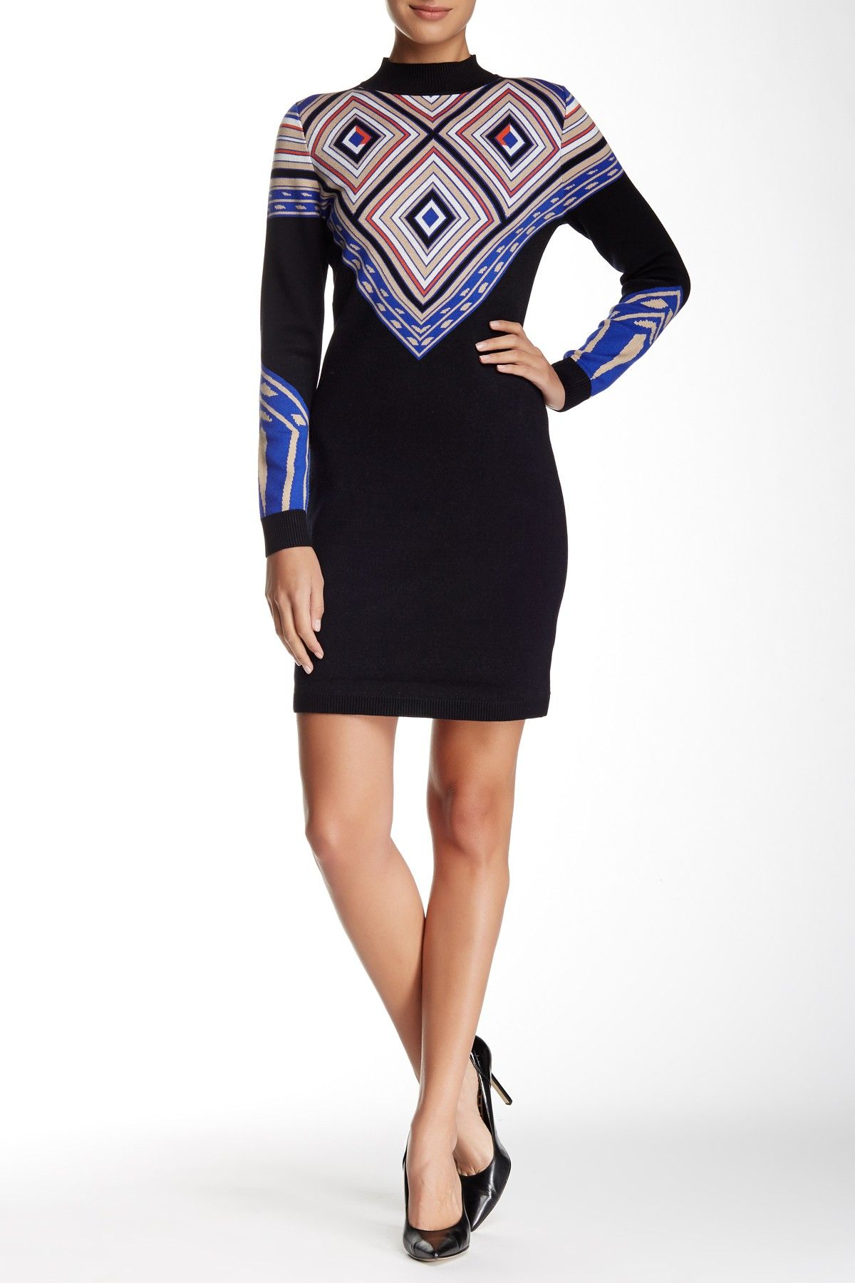 Long sleeve mock neck sweater dress products