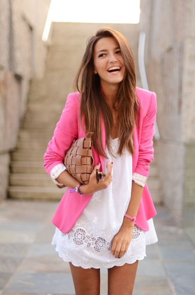 Love the details in the dress and the pink of the jacket.