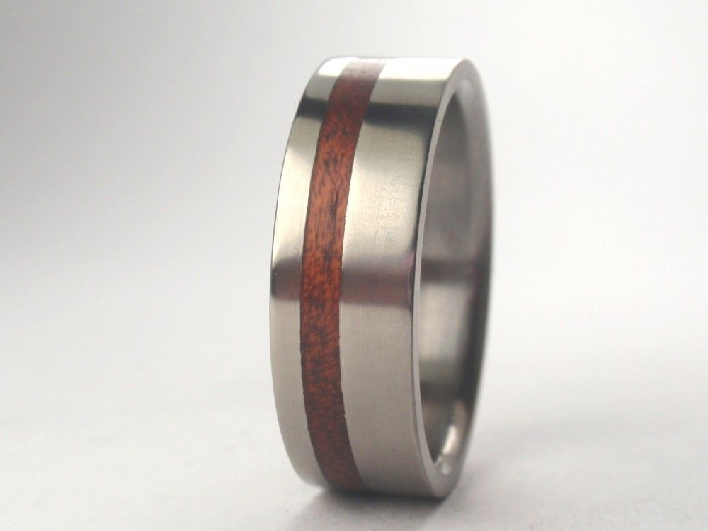 Wood Ring Wooden Band A Anium With Bloodwood Inlay Wedding 185 00 Via Etsy