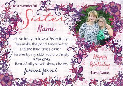 Sister verse photo card funky pigeon special sister birthday amore birthday card to a wonderful sister bookmarktalkfo Gallery