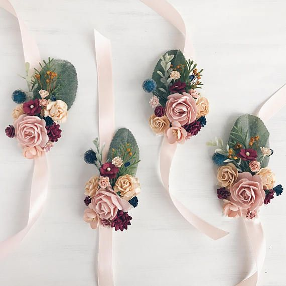 Flower wrist corsage, wedding corsage, corsage bracelet, prom wrist corsage