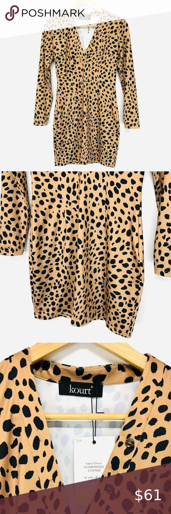 Revolve kourt Leopard Bodycon Long-Sleeve Dress ko