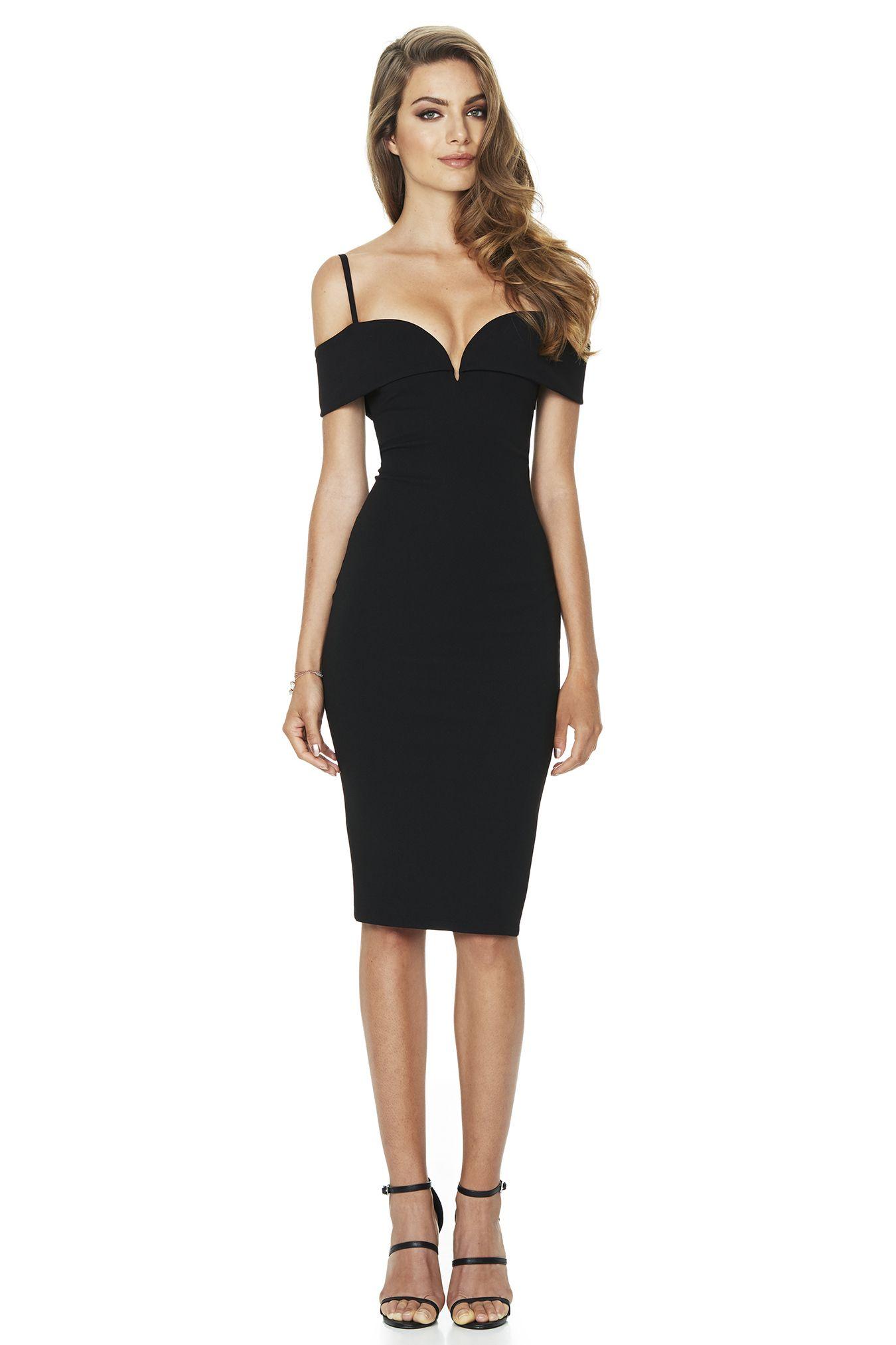 Black dress woman - Nookie Pretty Woman Midi Dress Black