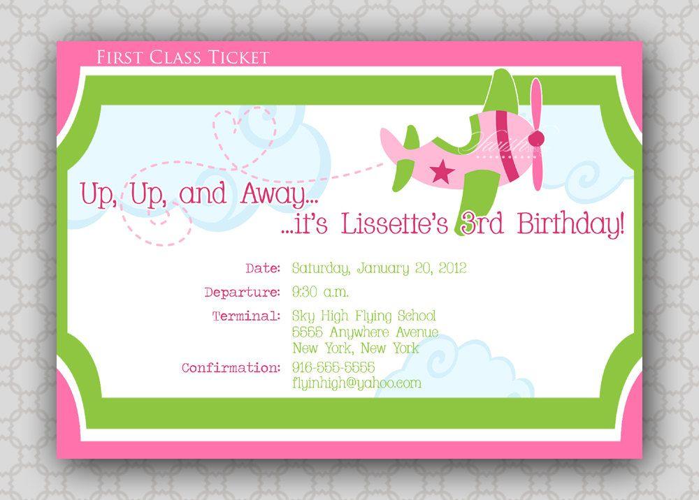Airplane Ticket Birthday Invitation - Girls Plane Ticket Boarding ...