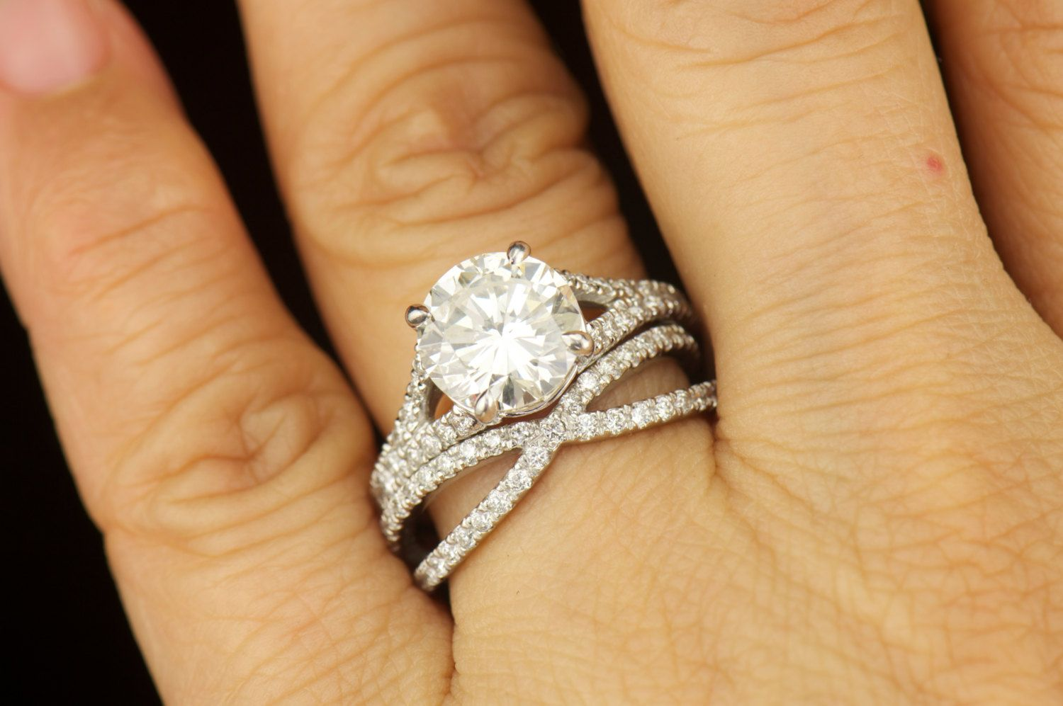 Forever Brilliant Moissanite And Diamond Engagement Ring And Criss