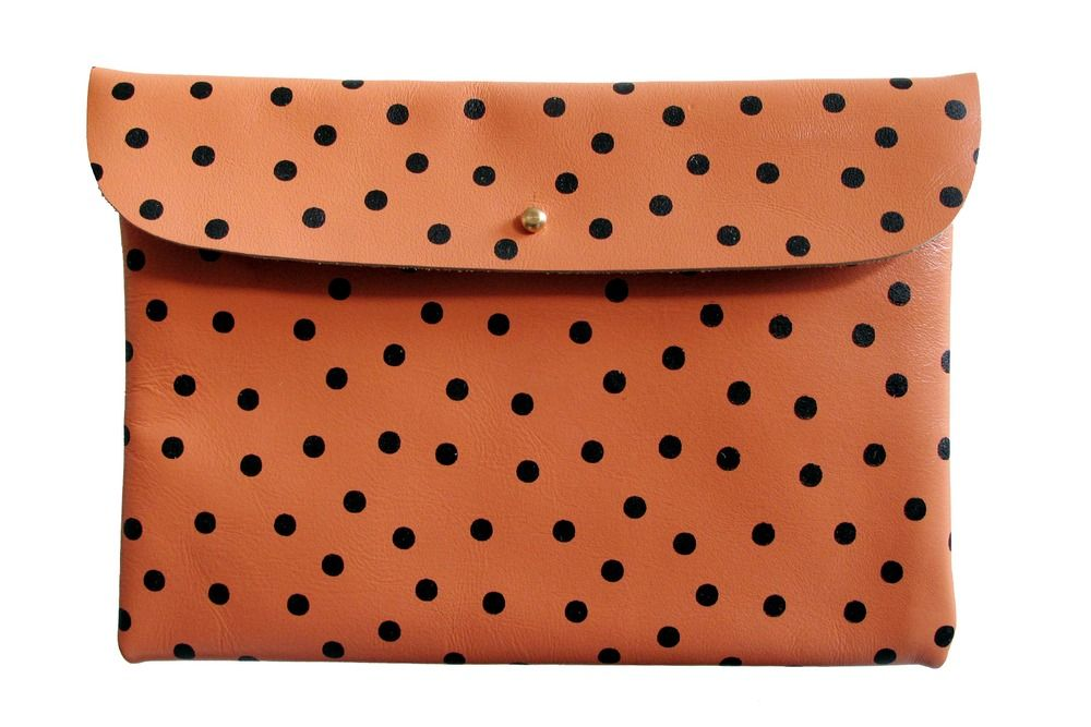 Falcon Wright Clutch- Peach Leather with Black Dots