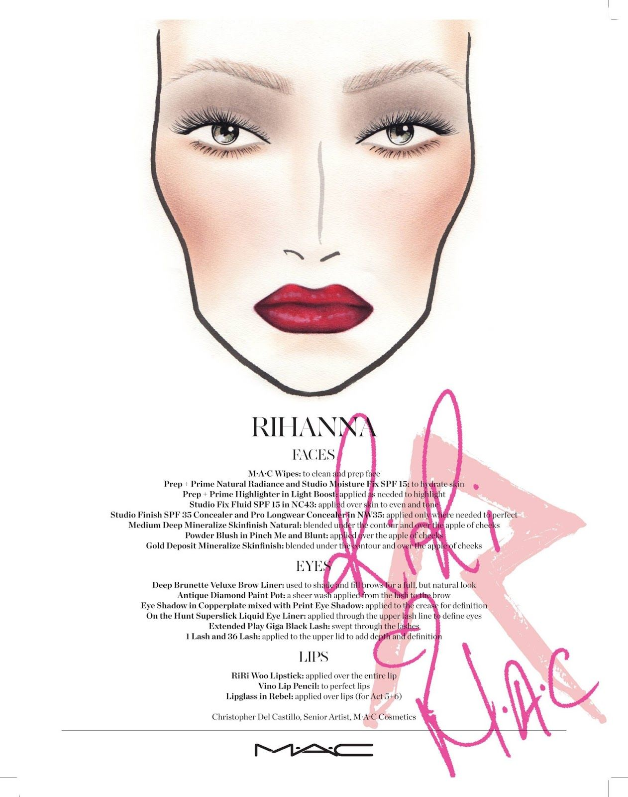 How to look like rihanna mac rihanna face chart xoxo emmy the official face chart for mac viva glam rihanna is here take a look on how to replicate rihannas viva glam look with the tutorial baditri Gallery