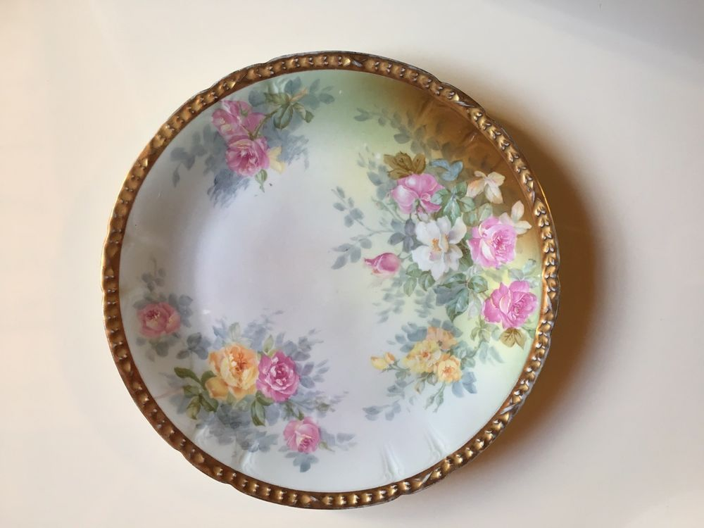 VINTAGE CH Field Haviland Limoges GOA France Decorative Plate Roses Gilded & VINTAGE CH Field Haviland Limoges GOA France Decorative Plate Roses ...