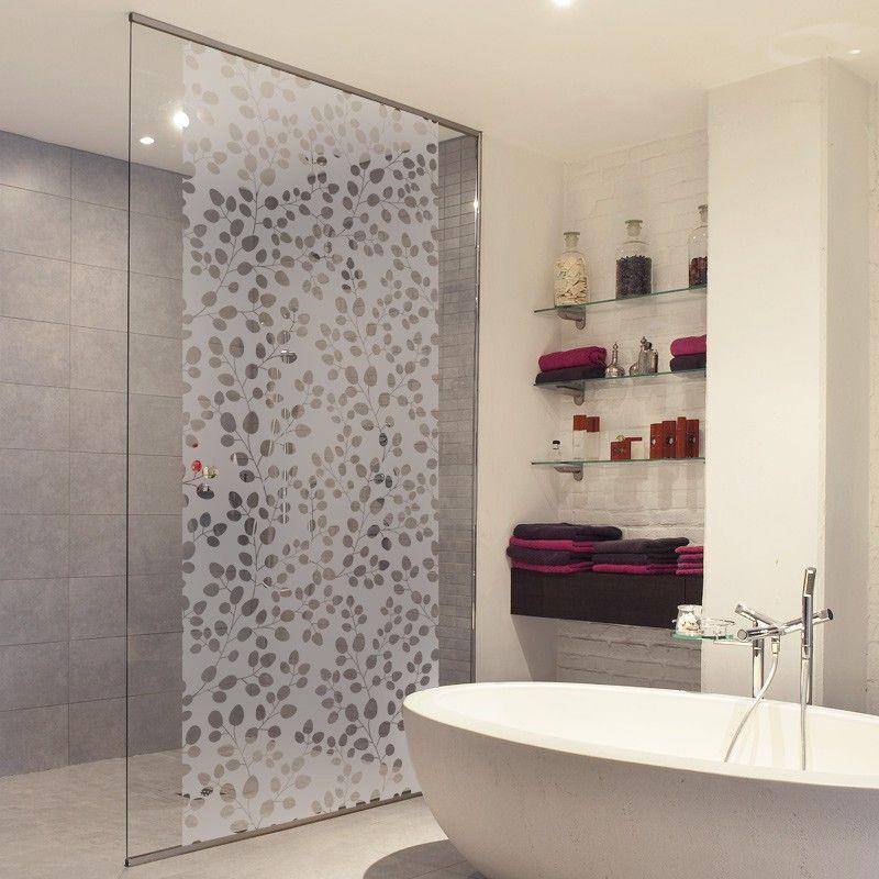 un adh sif pour paroi de douche au motif branches feuilles rondes paroi de douche. Black Bedroom Furniture Sets. Home Design Ideas