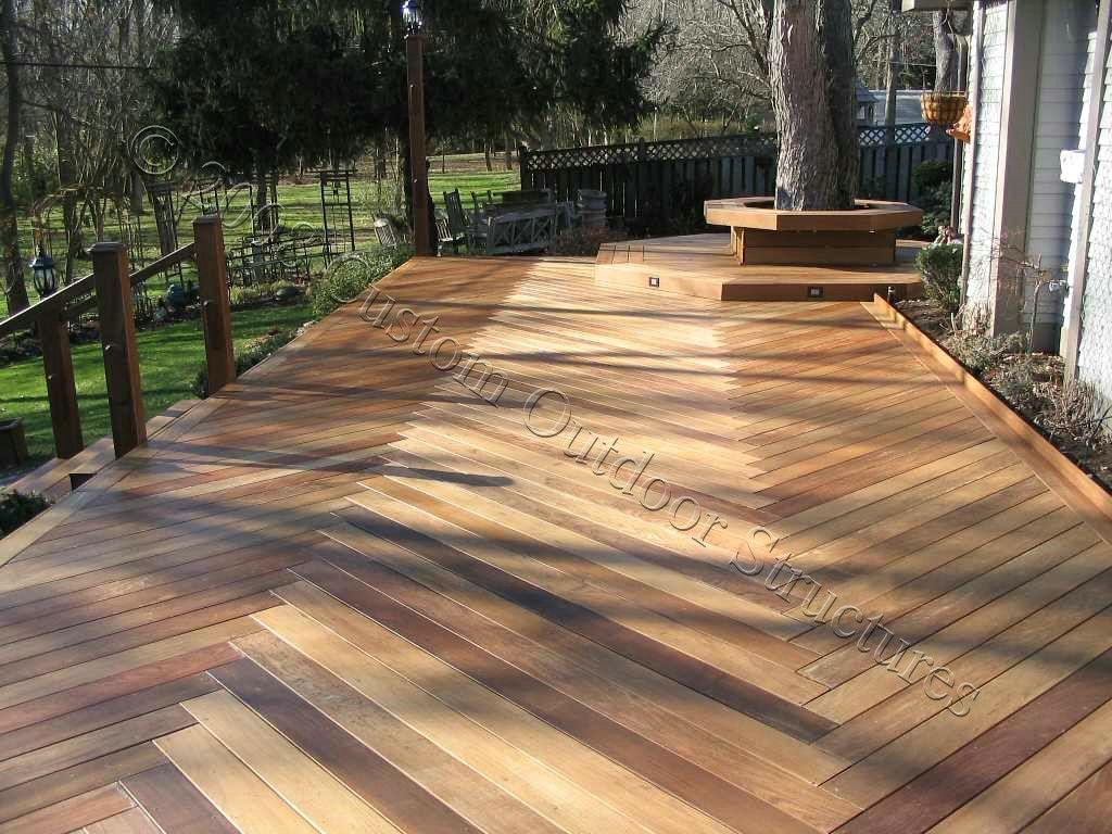 Wood Decks Custom Ipe Deck With Herringbone Decking Pattern Wood Deck Designs Deck Patterns Diy Deck