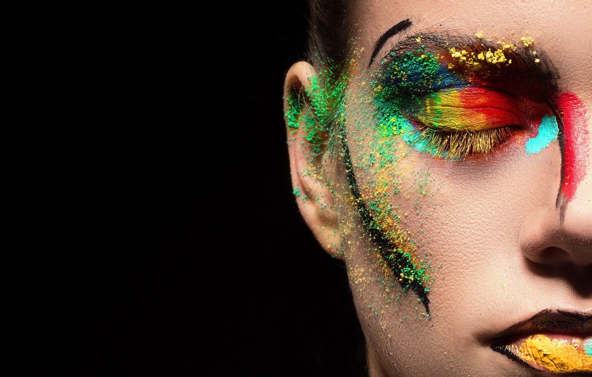 makeup closed eyes face women model eyeshadow