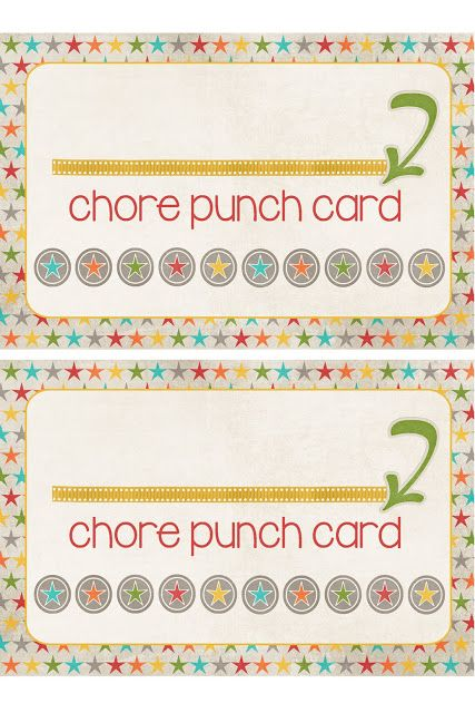 A Pocket full of LDS prints: Chore Punch Cards Freebie Simple and ...