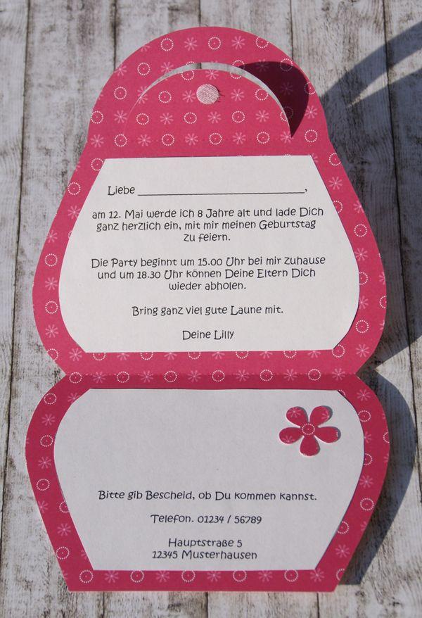 kreativ set einladung handtasche geburtstag pinterest geburt kinder und einladungen. Black Bedroom Furniture Sets. Home Design Ideas