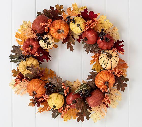 Faux Harvest Pumpkin Wreath Pottery Barn Pumpkin Wreath Fall Thanksgiving Decor Burlap Christmas Wreath