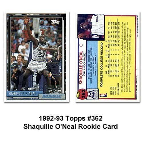 Topps Orlando Magic Shaquille Oneal 1992 93 Rookie Card By