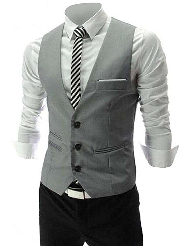 Vest V Neck Sleeveless Slim Fit Jacket Men Business Waistcoat Grey Cf189wl20ru Mens Suit Vest Mens Outfits Waistcoat Men [ 1500 x 1153 Pixel ]