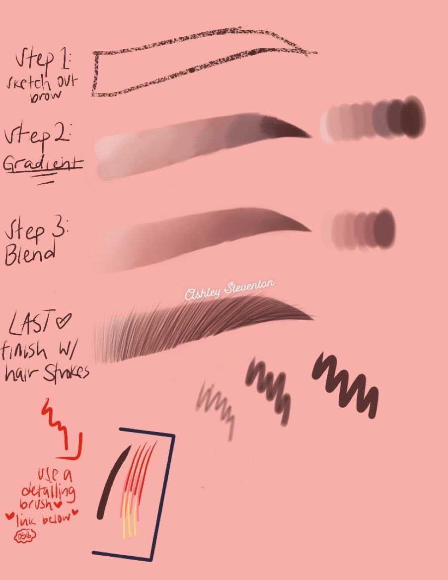 Learn how I draw my eyebrows :)  This simple 4 step tutorial will help ya out if you're struggling with drawing some bomb a** brows :)  Procreate brush only ❤️❤️